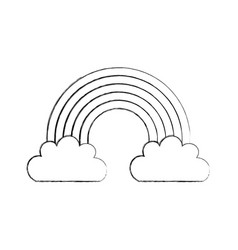 Beautiful fantasy cloud with rainbows vector