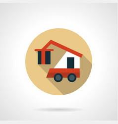 Cargo loader beige round icon vector