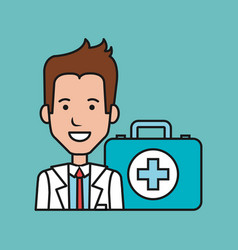 Cartoon doctor man with kit first aid medical vector