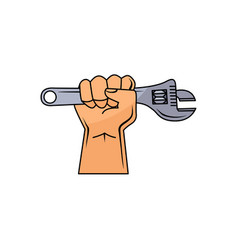 Cartoon man hand holding adjustable wrench vector