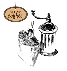 Coffee mill and bag vector