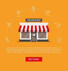 Flat storefront and linear icons set vector