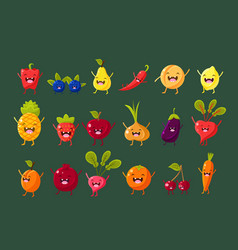 Fruits berries and vegetables sett pepper vector