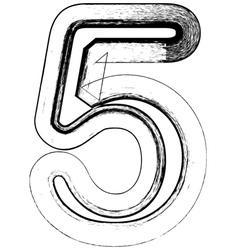 Grunge Font number 5 vector image vector image