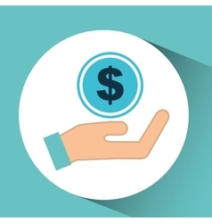 Hand concept save money currency vector