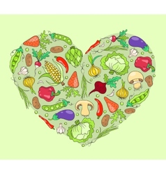 Heart from vegetables on green vector image