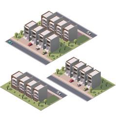 isometric townhouses set vector image