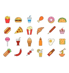 Junk food colorful icons set vector