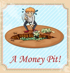 Man digging money pit vector