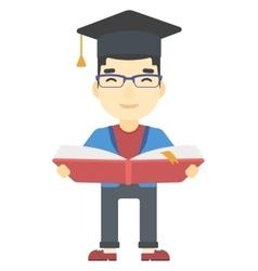 Man in graduation cap holding book vector