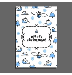 Merry christmas greeting card template with cute vector image
