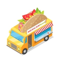 Mexican Food Street Eatery in Isometric Projection vector image