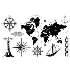 Old map and a set of sea icons vector image