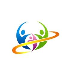 people happy family logo vector image