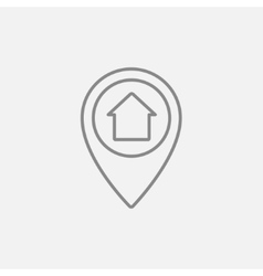 Pointer with house inside line icon vector image