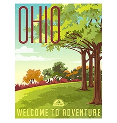 Retro style travel poster or sticker Ohio vector image vector image