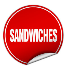 Sandwiches round red sticker isolated on white vector