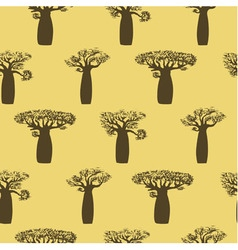 seamless pattern from hand drawing baobabs vector image vector image