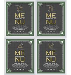 Set of restaurant menu cover background in retro vector image