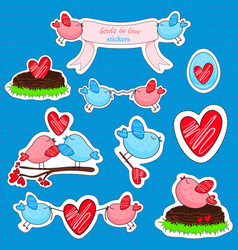 Stickers with birds in love and friendship vector