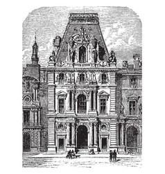 The richelieu pavilion of the louvre vintage vector