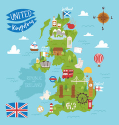 united kingdom great britain map travel city vector image