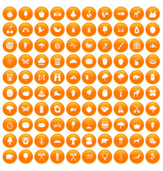100 camping and nature icons set orange vector