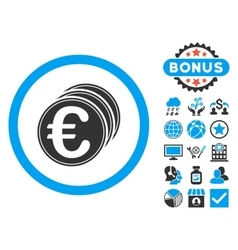 Euro coins flat icon with bonus vector