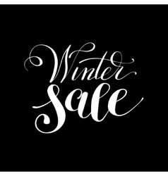 Winter sale black and white handwritten lettering vector