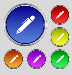 pen icon sign Round symbol on bright colourful vector image
