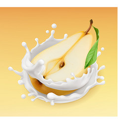 Pear and milk splash fruit and yogurt realistic vector
