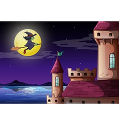 A witch going to the castle vector