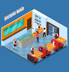sushi bar isometric vector image