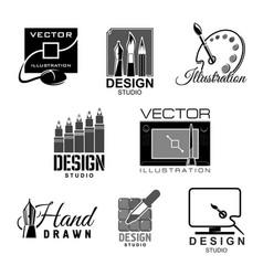 graphic design studio icons vector image