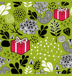 seamless wallpaper with gift boxes on the green vector image