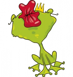 prince frog kiss vector image