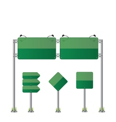Road signs set green vector