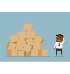 Worried businessman and large pile of boxes vector