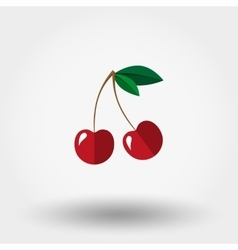 Cherry icon flat vector