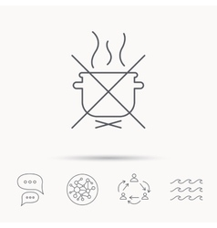 Boiling saucepan icon do not boil water sign vector