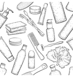Seamless pattern detailed hygiene set vector