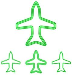 Green line airplane logo design set vector
