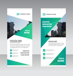 Green triangle business roll up banner templates vector