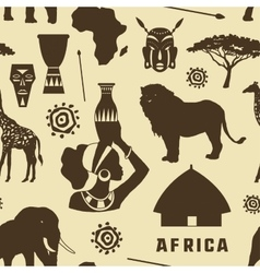 Africa icons set pattern vector