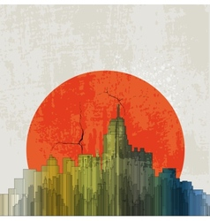 Apocalyptic retro poster Sunset Grunge background vector image