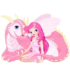 Beautiful magic dragon and fairy vector