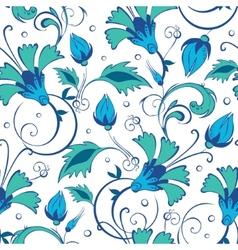 Blue green swirly flowers seamless pattern vector