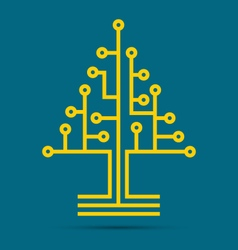 Circuit board pattern in the shape of the tree vector image vector image