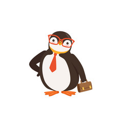 Cute doodle penguin toon in glasses and tie is vector
