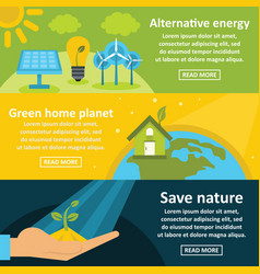 Green energy banner horizontal set flat style vector